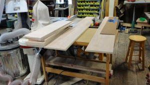 Shelf pieces cut from cherry plywood