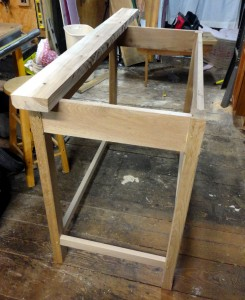 Kitchen Island base glued up with a piece of hickory that will wind up in the top