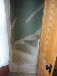 The back stairs before painting. They are extra dirty from having a rainy/muddy weekend with the boys
