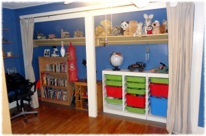 The closet space opened up and reused for storage.