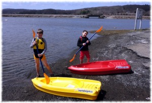 Getting ready to try out their new kayaks
