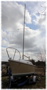 The mast raised - looking like a sailboat now!!