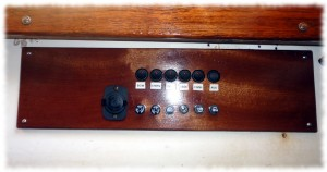 New switch panel installed in the boat (below the starboard settee)