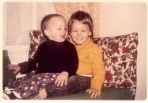 Me (2 1/2 years old) and Bill (1 1/2 years old) in December 1975