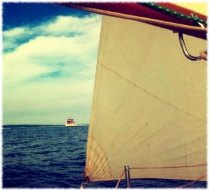Sailing past New London Ledge light