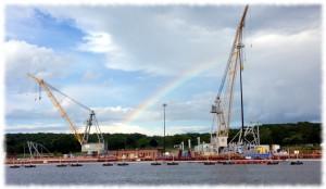 A rainbow over the submarine base