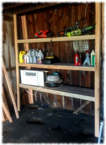 Garage shelves made from maple and red oak.