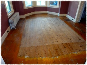 The floors before refinishing.  Yuck!