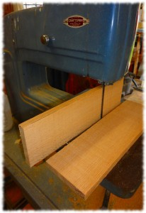 """The drawer sides after resawing. I'll run them over the jointer one time and then plane them to just under 1/2"""" thick."""