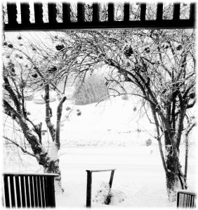 Snow falling out the front door