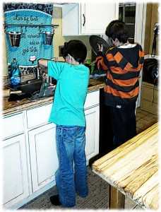 Will and Ben actually washing the dishes after pizza/movie night. Sometimes it is possible to get them to work together. But not too often.