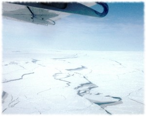 A view of the broken ice from our flight back to Prudhoe Bay