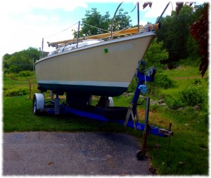 The boat, bottom painted and almost ready for the water.