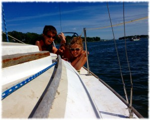Will, Ben and Susanna enjoying the sun as we anchor on the Niantic River.