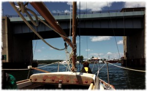 Heading under the Rt 156 bridge into the Niantic River.
