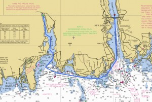 The planned route from the Thames River up the Niantic River