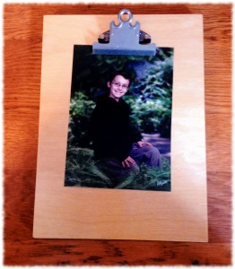 A completed clipboard with a picture added.