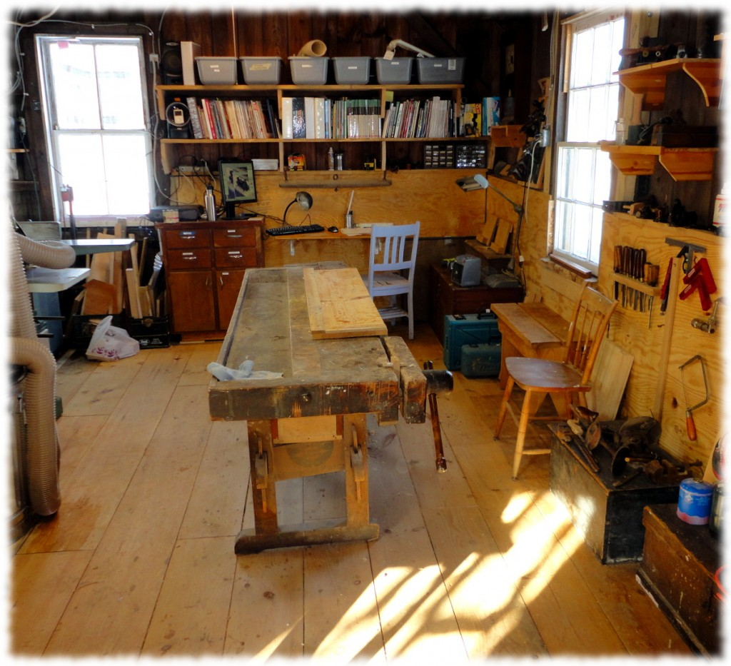 A reasonably clean workshop. I even vacuumed the floor. I still have more stuff than I need, but it is heading in the right direction.