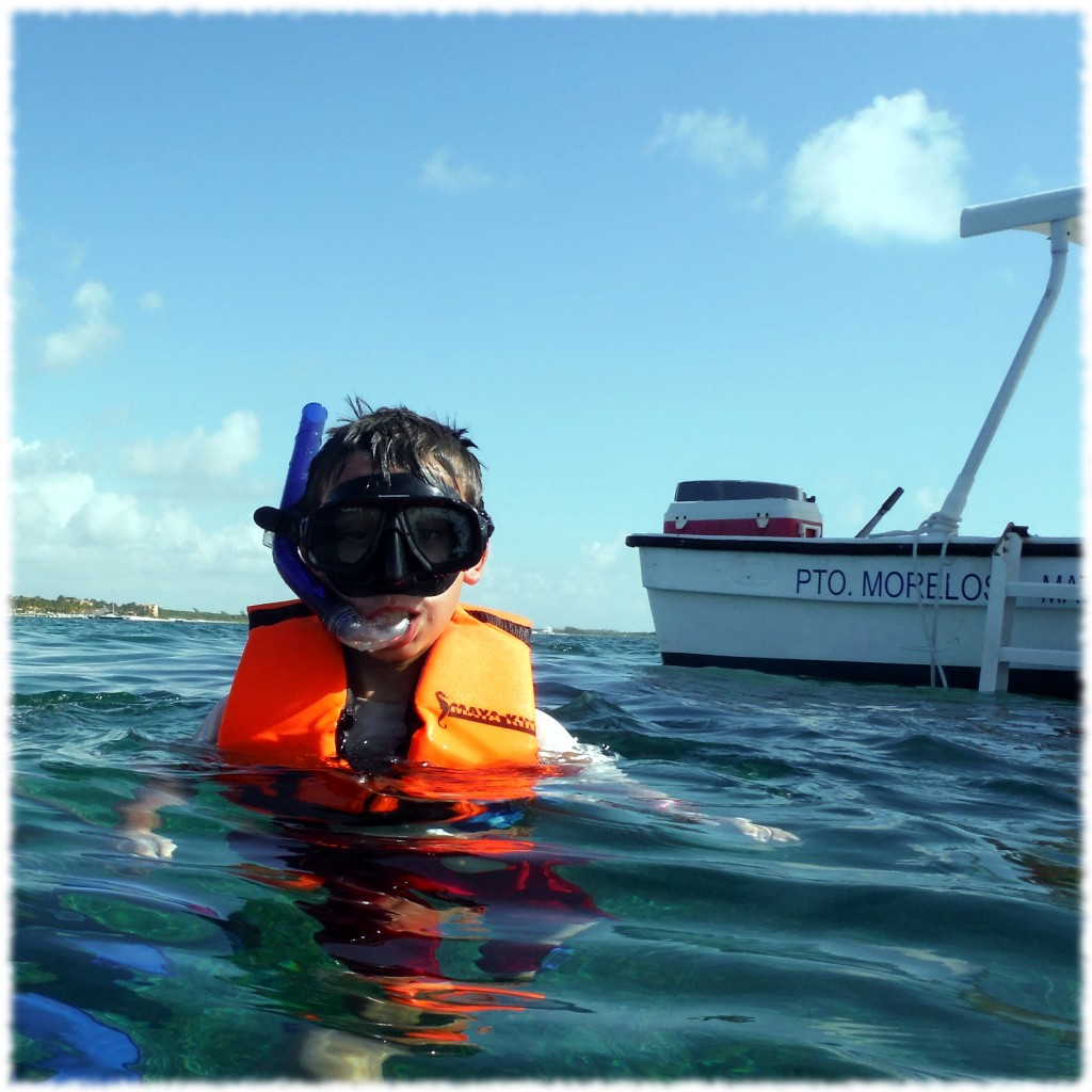 Benjamin enjoying the water at the reef on our snorkeling adventure on Wednesday.