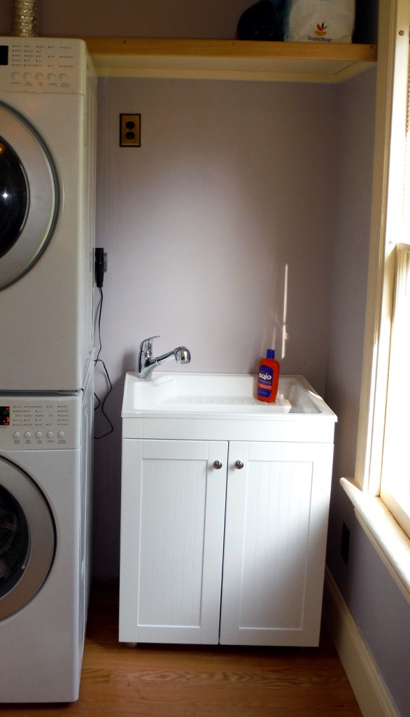 Laundry sink installed. We picked up a kit from Home Depot. It took about an hour to assemble and install.
