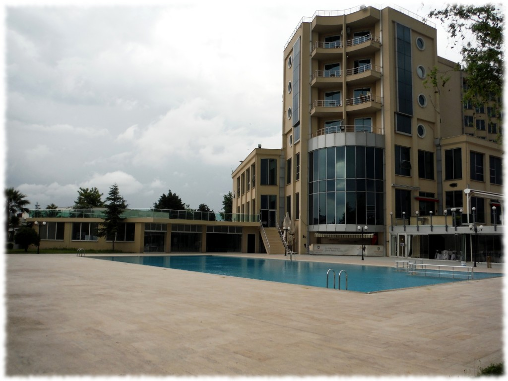 The Emex Hotel in Izmit. It rained all week so we didn't get to use the pool.