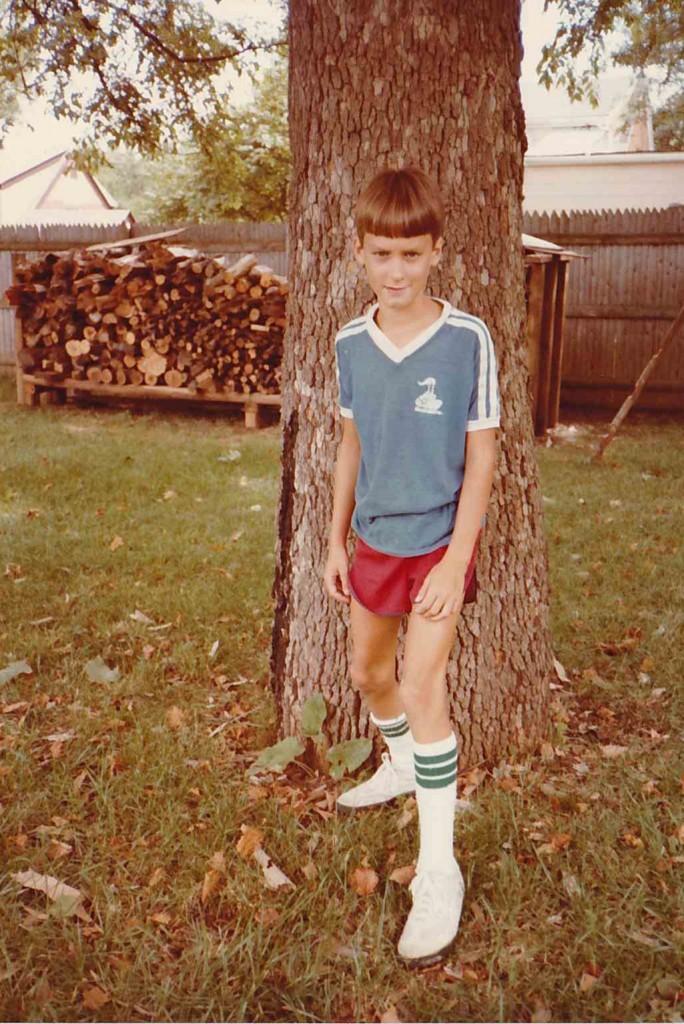 Showing off my soccer uniform (I think), September 1982