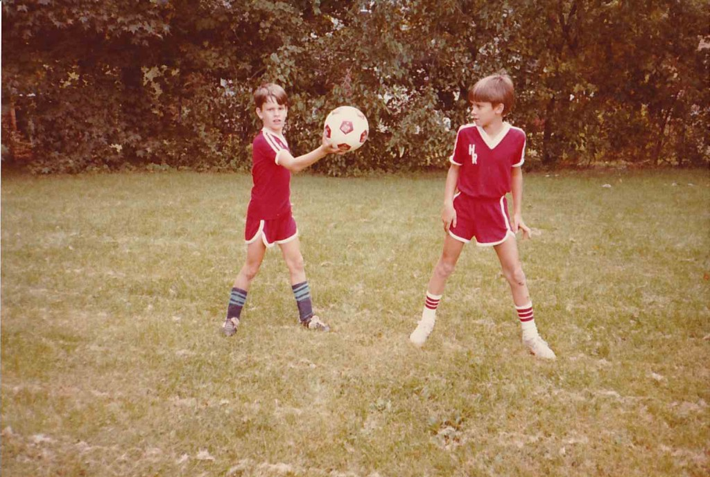 Chuck and Bill ready for soccer (1982 maybe)