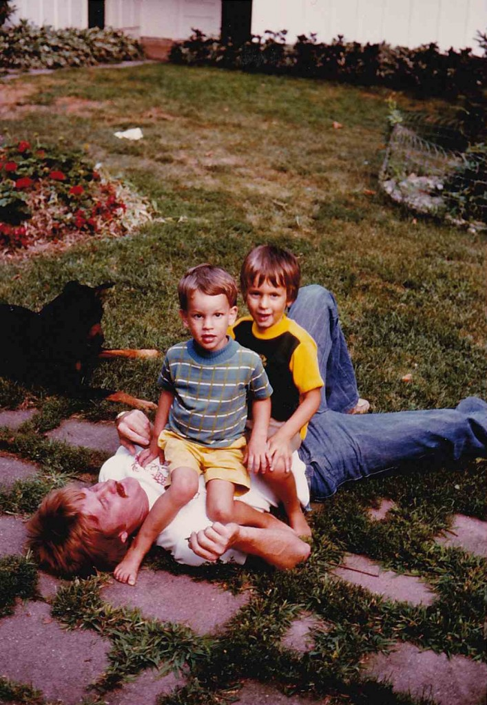 Chuck (3 1/2), Bill (2 2/2) and Uncle John, 1977