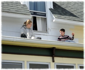 Will enjoying the day from the roof outside his window while Susanna takes a break from painting