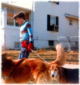 Bill walking our dogs Buffy and Candy in 1982