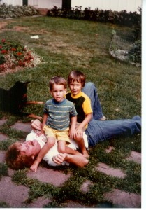 Me and Bill with my Uncle John (Bill is 2 1/2 and I am 3 1/2)