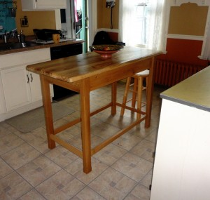 The new kitchen island in place in our kitchen