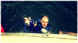 Enjoying a swim off the boat.