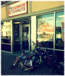 Taking a snack break with the boys while out bicycling earlier this month