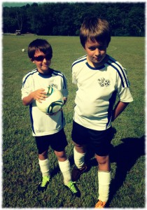 Will and Ben after their first soccer game - they are on the same team this year which simplifies practice and games.