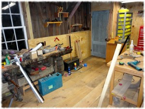Back of the workshop with the  new floor and walls.
