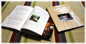 Will's and Ben's blog books/journals printed at Lulu.com.  Each are around 100-pages hardbound.