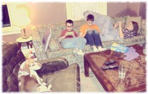 Will, Ben, Susanna and Tucker enjoying a bit of Minecraft after our pizza/movie night.
