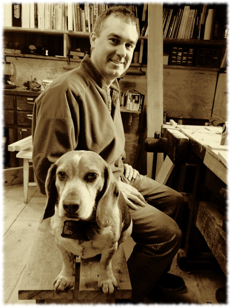 Tucker helping me in the workshop. Photo by Susanna.