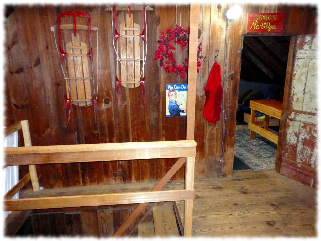 We even added decoration to the stairs up to the loft. The boys play room can be seen through the doorway on the right.