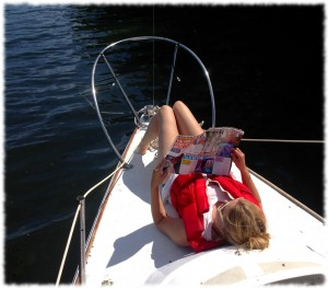 Susanna enjoying the sun at our first anchorage.