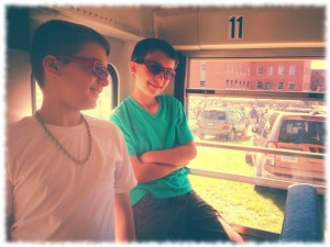Will and Ben on the bus tour of the Norwich State Hospital property.