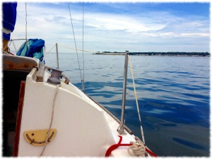 Sailing around Black Point from Niantic Bay towards Long Ledge