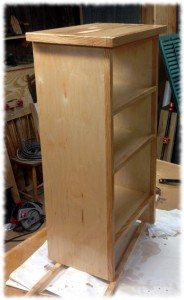 Study storage shelves (plywood with red oak face-frame)