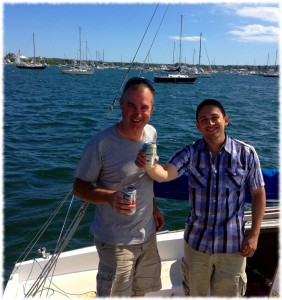 Adrian and I enjoying a beer after a long journey to Block Island, RI.