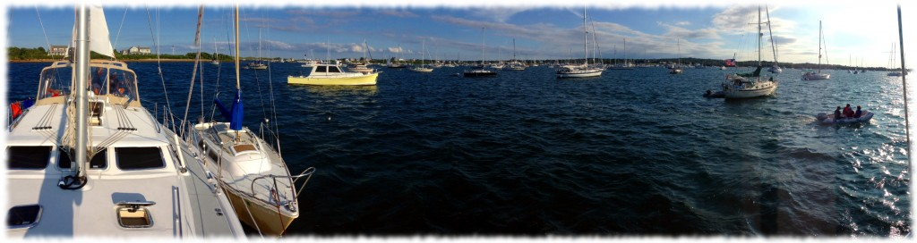 A panoramic view of the anchorage at Block Island, RI