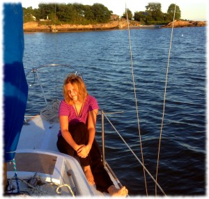 Susanna enjoying the evening light at anchor.