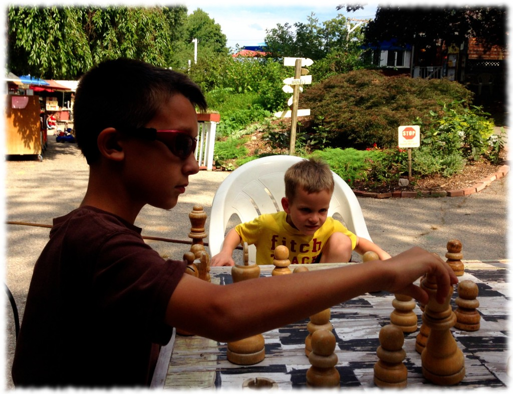 Wednesday was a quiet day. We took a trip in the afternoon to the Book Barn in Niantic to get some reading material for the boys. Here is Chase watching Ben play chess against Brady.