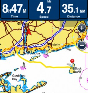 A summary of our track to Block Island, RI from Niantic River, CT