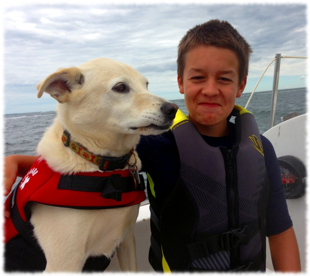 Will and Targa enjoying our motor-sailing around Black Point.